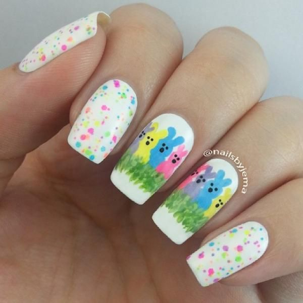 Easter bunny Peeps spring nails. Cute glitter polish on the other nails, too!