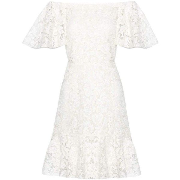 Valentino Lace Off-the-Shoulder Dress ($3,595) ❤ liked on Polyvore featuring dresses, white, white off the shoulder dress, off shoulder dress, lace cocktail dresses, lacy dress and off-the-shoulder lace dresses