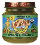 Earth's Best, Spinach and Potatoes, Stage 2, Organic, 4oz for only $1.10 You save: $0.19 (15%)