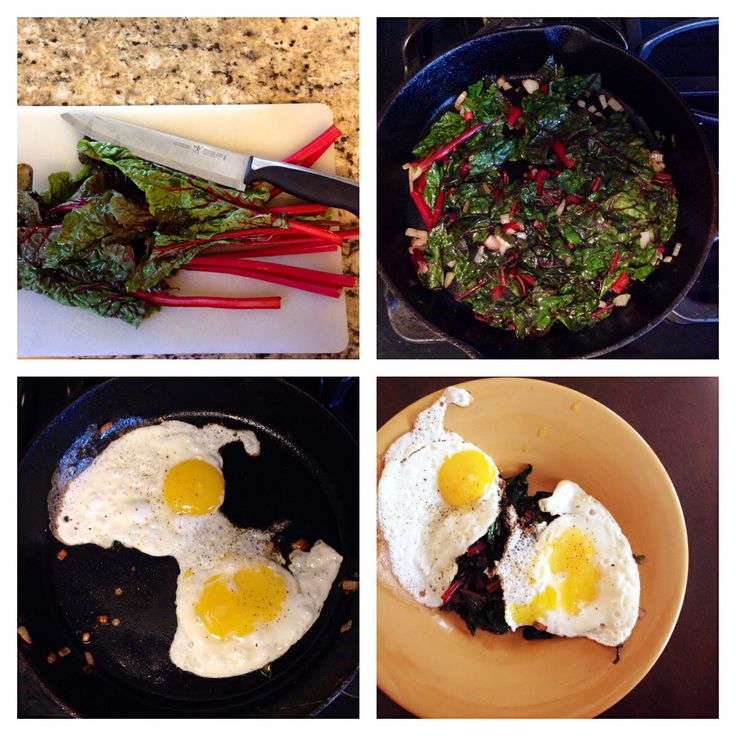 Sautéed Swiss chard and onion with two eggs in coconut oil. 1 green ...