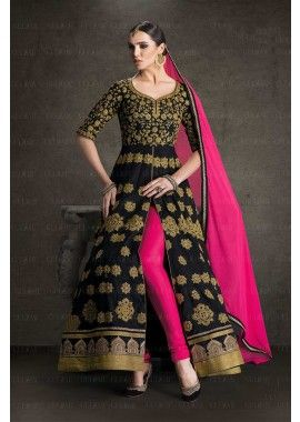 couleur noire banglori costume Anarkali de soie, - 119,00 €, #Robeindou #Tenuebollywood #Tenuepakistanaise #Shopkund