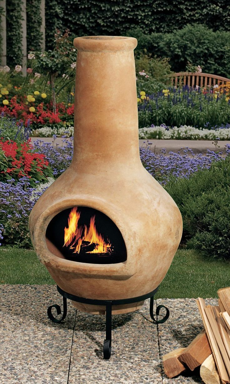 Ceramic Chiminea Outdoor Fireplace In 2020 Clay Fire Pit