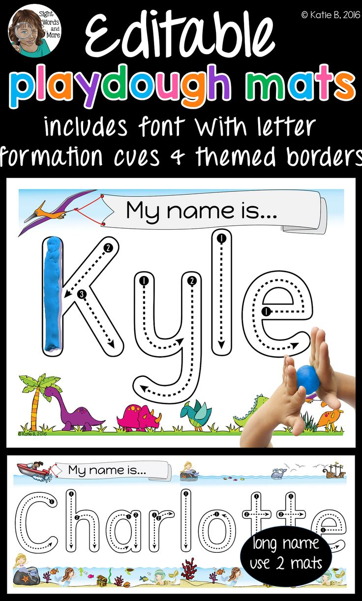 Playdough mats that are EDITABE. These custom name play dough mats, with correct letter formation cues, make for a perfect tactile teaching tool and activity to help younger learners practice the most important word to them... their name!