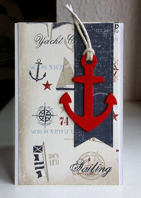 Card nautical sailing anchor sea ocean banners MFT Let´s get nautical Die-namics,  #mftstamps - maritimt nautisk kort med anker  - Maja Design Life by the Sea paper collection #majadesign - My Favorite Things MFT stitched banners Die-namics - JKE