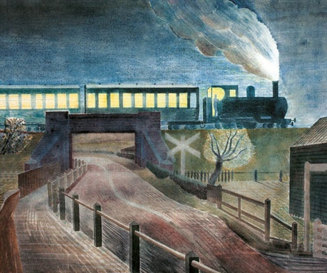 'Train Going over a Bridge at Night' by Eric Ravilious
