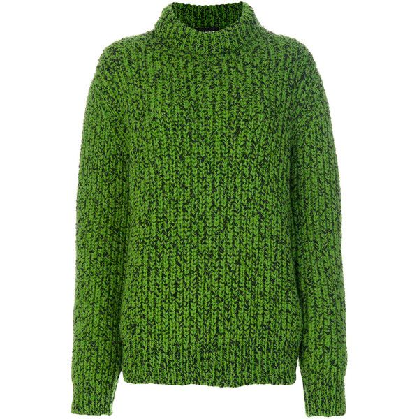 Calvin Klein 205W39nyc chunky knit jumper ($1,315) ❤ liked on Polyvore featuring tops, sweaters, green, green jumper, green top, green sweater, jumper top and chunky-knit sweaters