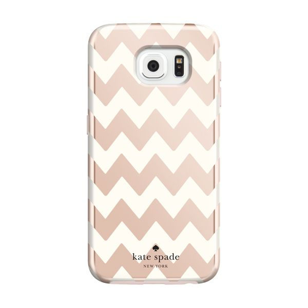kate spade new york Hybrid Hardshell Case for Samsung Galaxy S6 - Chevron Rose Gold/Cream