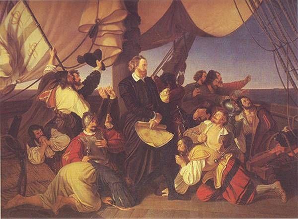 Christian Ruben - Kolumbus objevuje břehy Ameriky (1846, NG Praha)