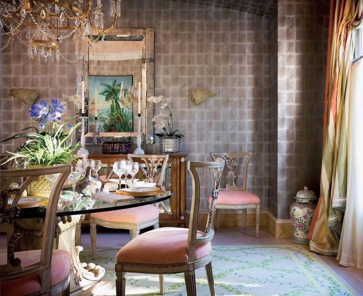 Dining Room At Chateau Deulin. Decorator Mario Buatta Embraces U0027light And  Cheerfulu0027 In South Florida