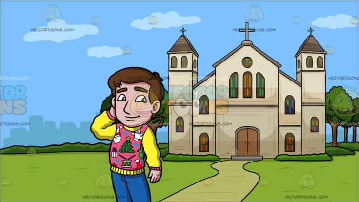 A Shy Man In An Ugly Christmas Sweater At A Church Outside The City:  A man with brown hair wearing an ugly pink Christmas sweater with patches and yellow sleeves blue pants and gray sneakers smirks while placing his right hand behind his head. Set in outside view of a cathedral with beige walls gray roofing cross green trees and walkway overlooking the city.  #religion #religious #church #prayer #vectortoons #clipart #illustration