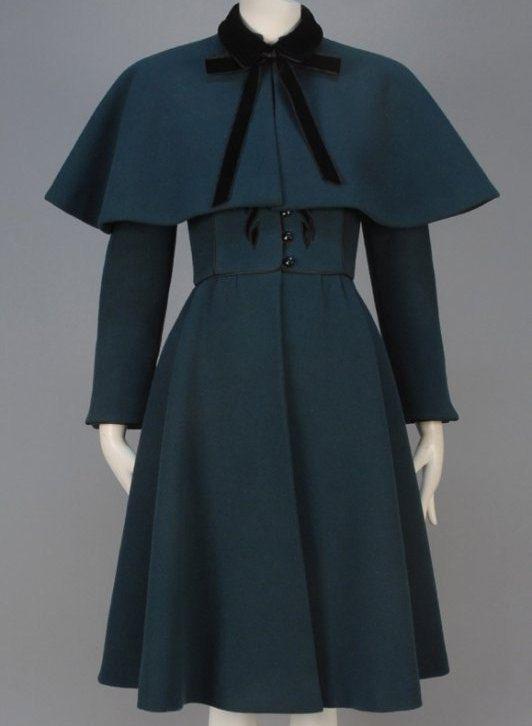Nina Ricci Bottle groene wollen jas jaren 1950 Vintage kleding