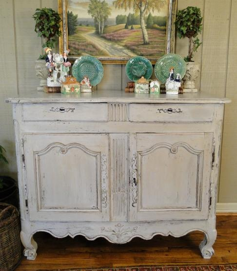 Lovely Antique French Country Buffet Server Sideboard ~ Painted ~ 1880u0027s ~ Carving
