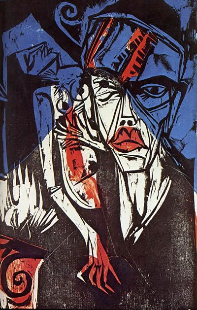Ernst Ludwig Kirchner, Combats - Agonies of Love c.1915 via Tumblr