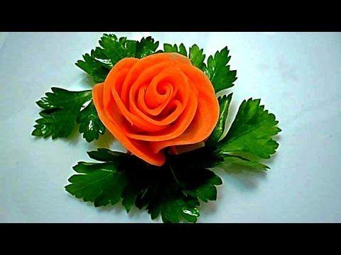 Роза из моркови. Flowers from carrots. Decoration of carrots. - YouTube