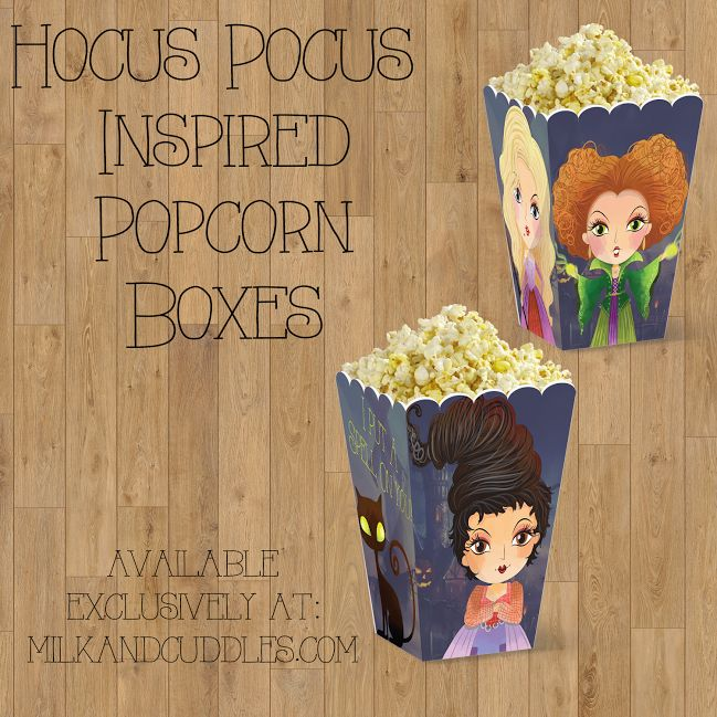 "Hocus Pocus Inspired Popcorn Boxes {FREE Printable} - There are just some films that you NEED to see for the holidays to have truly begun – ""Hocus Pocus"" is one of those movies, for my family! It's not Halloween until Hocus Pocus has been watched! And what do you need while you watch Hocus Pocus – snacks of course. And that's where these Hocus Pocus inspired Popcorn Box Printables come in!"