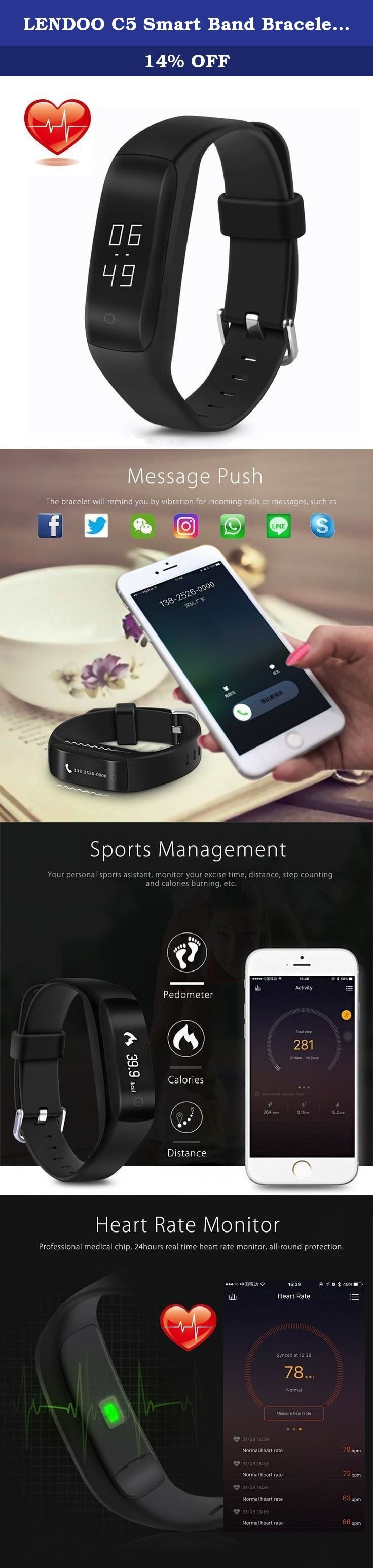 LENDOO C5 Smart Band Bracelet with Dynamic Heart Rate Monitor - OLED Display Fitness Activity Tracker Wristband Watch for Android 4.4 iOS 8.0 iPhone 7 Sumsung(black). Specifications: Small body with big screen, 0.91 inches, gives you a good sight enjoyment. Monitors your sleep duration and quality. Activity tracking with activity goal, activity time, steps and distance and inactivity alerts. Can measure heart rate, energy pointer, smart calories and training benefit. Provides vibrating…