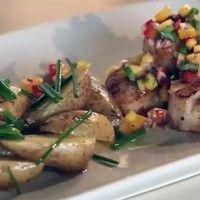 Pétoncles Olivia, avec salsa de mangues, et salade de pommes de terre tièdes sur Wikibouffe