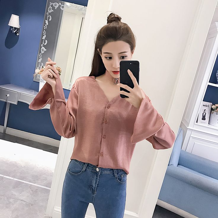 New Women Shirtslt Full Sleeve V-Neck Firm Offers Centers Around A Silks And Satins Blouse Shirt Red Apricot 801 #Satin blouses http://www.ku-ki-shop.com/shop/satin-blouses/new-women-shirtslt-full-sleeve-v-neck-firm-offers-centers-around-a-silks-and-satins-blouse-shirt-red-apricot-801/