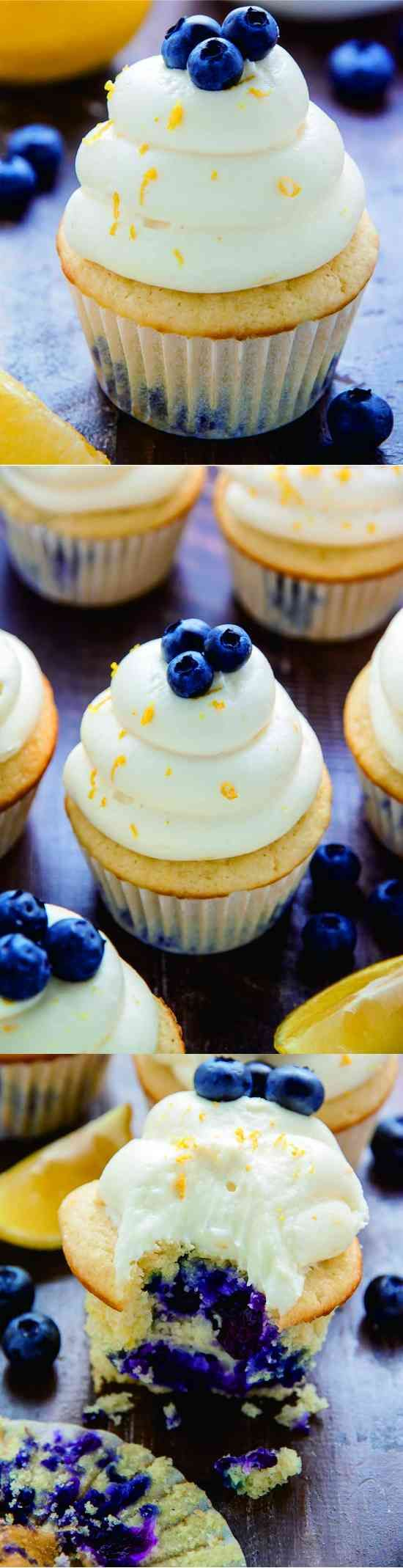 LEMON BLUEBERRY CUPCAKES - baked, blueberry, butter, cheese, cream, creamcheese, cupcakes, dessert, fresh, frosting, frozen, lemon, lemon juice, milk, muffin, recipes, vanilla