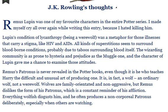 JKR's feelings on Remus Lupin. That makes me so sad! He is one of my absolute favorite characters.