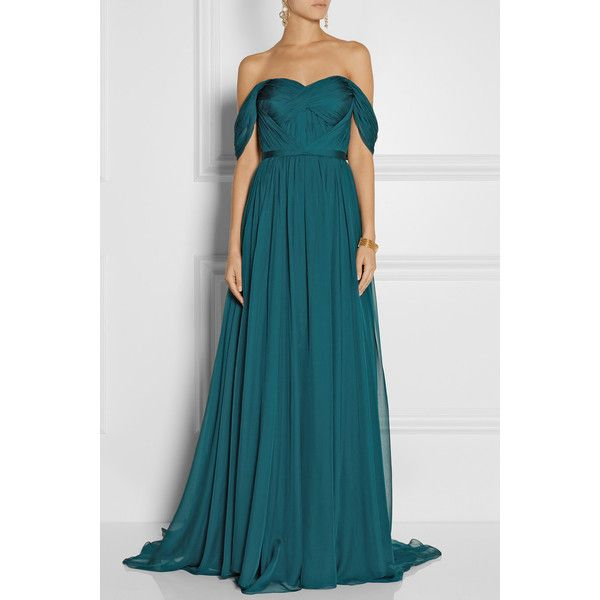 Marchesa Off-the-shoulder silk-chiffon gown (€1.850) ❤ liked on Polyvore featuring dresses, gowns, gown, outfits, teal blue dresses, marchesa gowns, blue gown, teal dress and blue off the shoulder dress