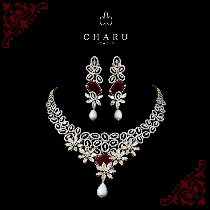 #Royal #Design For Looking #Gorgeous....at Charu Jewels  #designer #jewelery #elegant #real #diamond #necklace from our #Bridal #collection