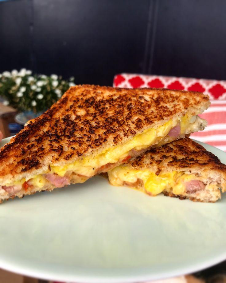 Cheese, ham, tomato & onion toastie with Lucky Taco Hot Sauce! ✌🏽
