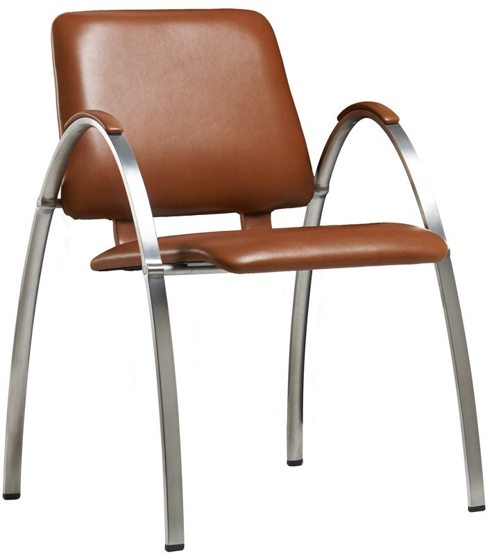 dining chair in walnut elegance leather. High-end quality chair designed by Monica Ritterband