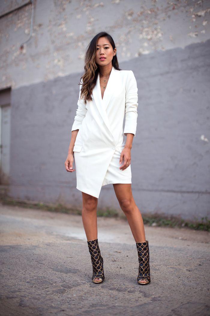 Haute Hippie blazer dress, Balmain open toe booties #StreetStyle