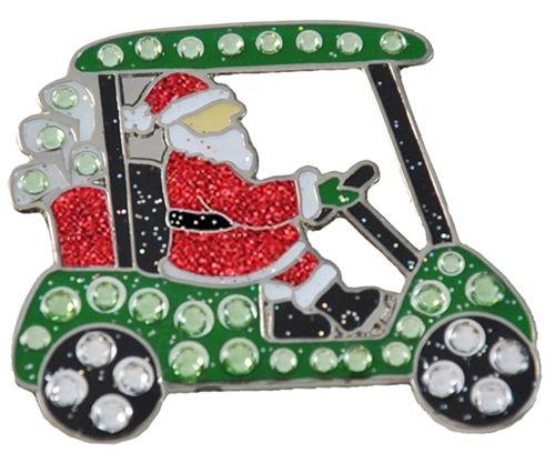 Santa's Golf Cart Navika Swarovski Crystal Ball Marker & Visor Clip. More Christmas decorations at #lorisgolfshoppe