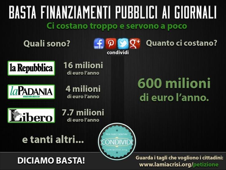 Basta finanziamenti pubblici ai giornali