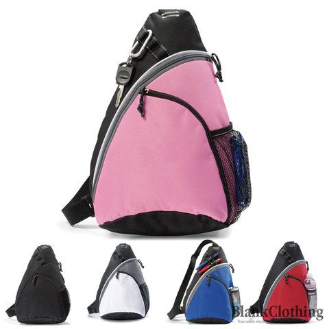 SCOUT sling backpack. Adjustable shoulder strap. Available in pink, white, blue, black or red. Buy bags online. Wholesale warehouse. Blank clothing Australia.