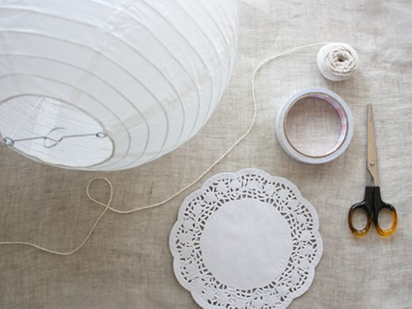 How to turn a paper lantern into a beautiful doily lantern, from RuffledBlog.com