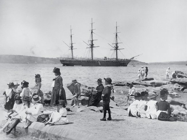 The ship Wolverine at anchor, seen from Mrs Macquaries Point, Sydney Harbour, ca. 188-87