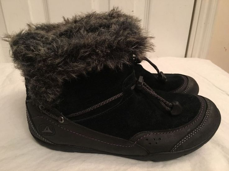 Clarks Ladies Idly Bootie Ladies Fur Trim Black Leather Winter Ankle Boots UK 3