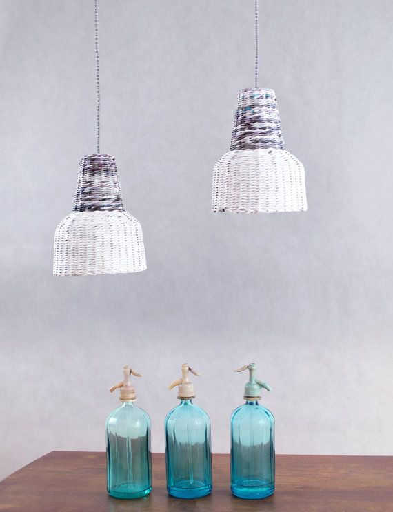 Small industrial lamp Pendant lamp Eco lofts hanging lamp Loft Style White Grey Kitchen lamp Minimal Paper lamp eco - Ele Mele