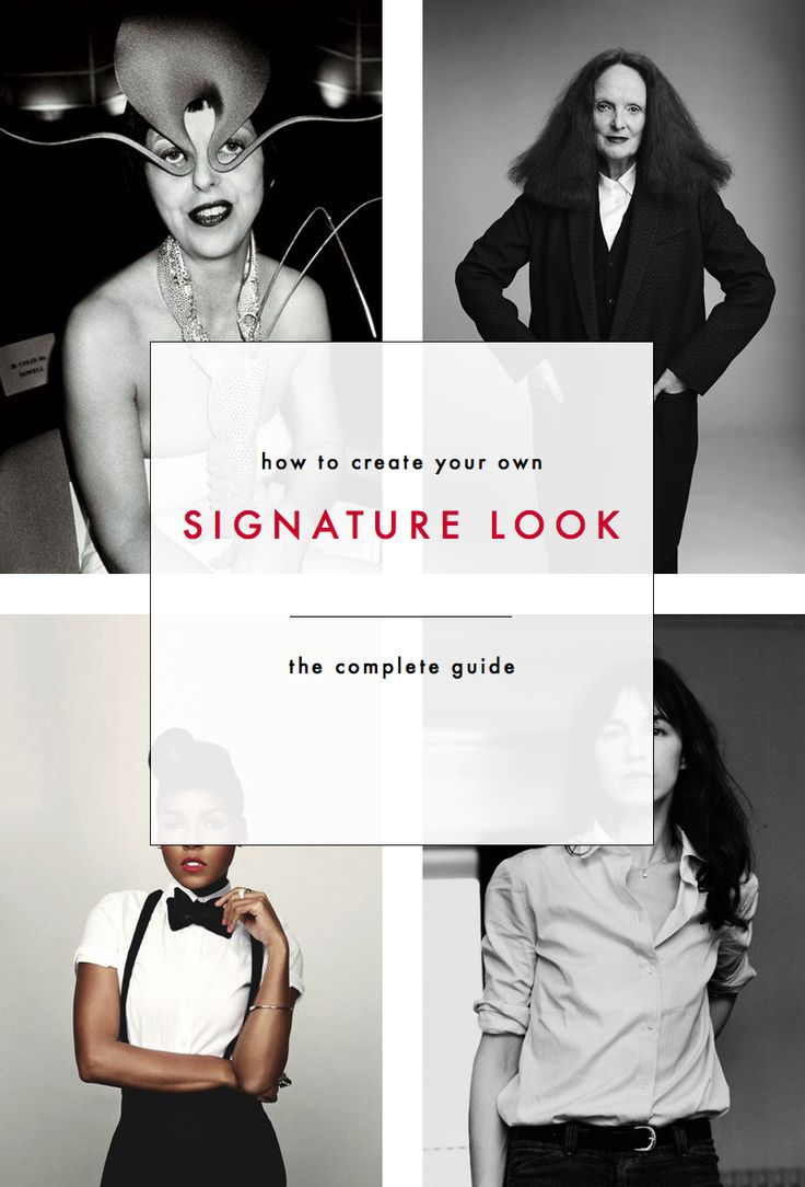 "How to create your own signature look: The complete guide // "" even if you have no aspiration to be a style icon, creating a signature look is an important step on any curating journey, whether you want to refine your own personal style because you love fashion as a creative outlet or are just trying to build a more functional wardrobe."""