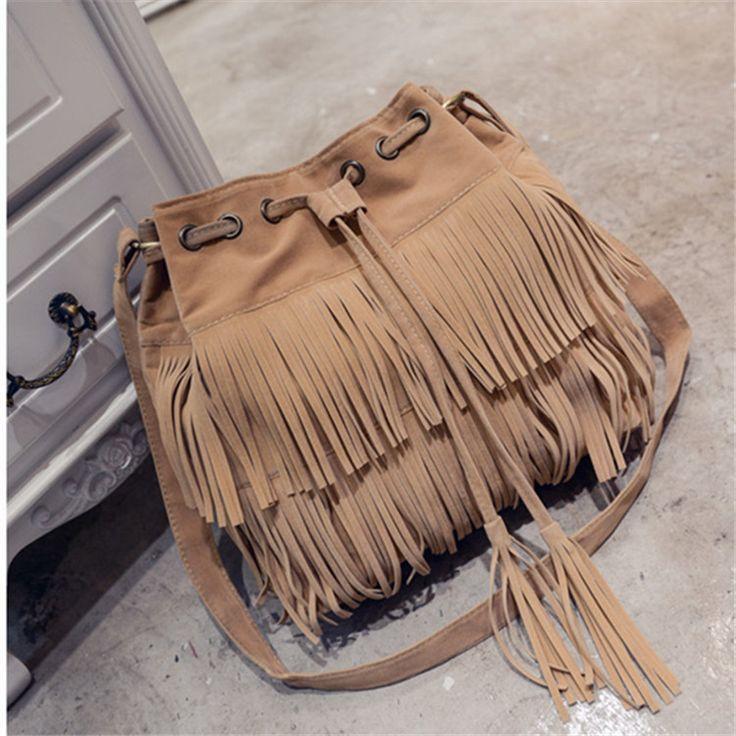 2017 NEW Retro Faux Suede Fringe Women Messenger Bags New Handbag Tassel Shoulder Handbags Crossbody Gift schoudertas dames