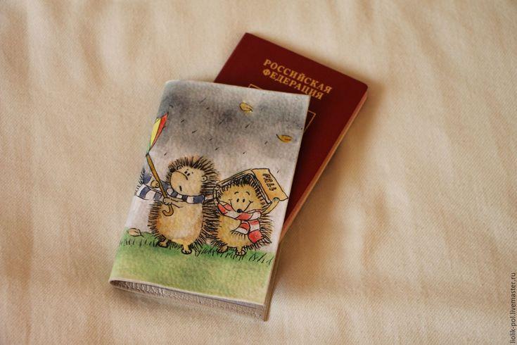 """Купить Обложка на паспорт """"Ежики"""" - Паспорт, обложка на паспорт, обложка для паспорта, обложка на документы"""