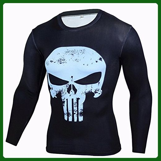 Cool Men's Compression Sports Fitness Shirt Punisher Skull Long Sleeve Tee 2XL - Sports shirts (*Amazon Partner-Link)