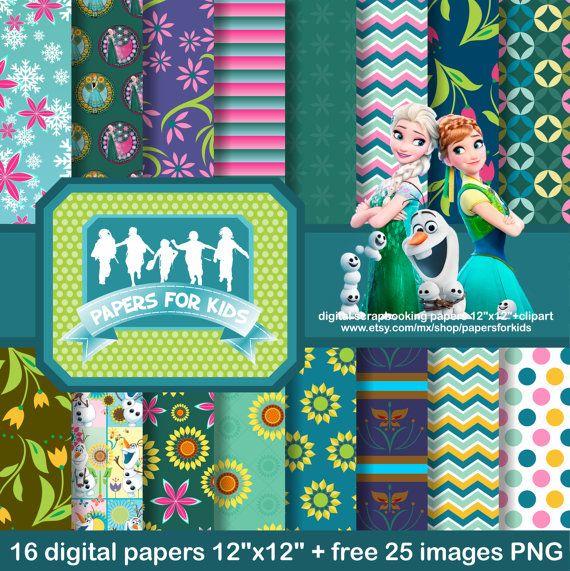 Digital Papers, Frozen Fever, Princess Elsa, Princess Anna, Girls, Background, Clipart
