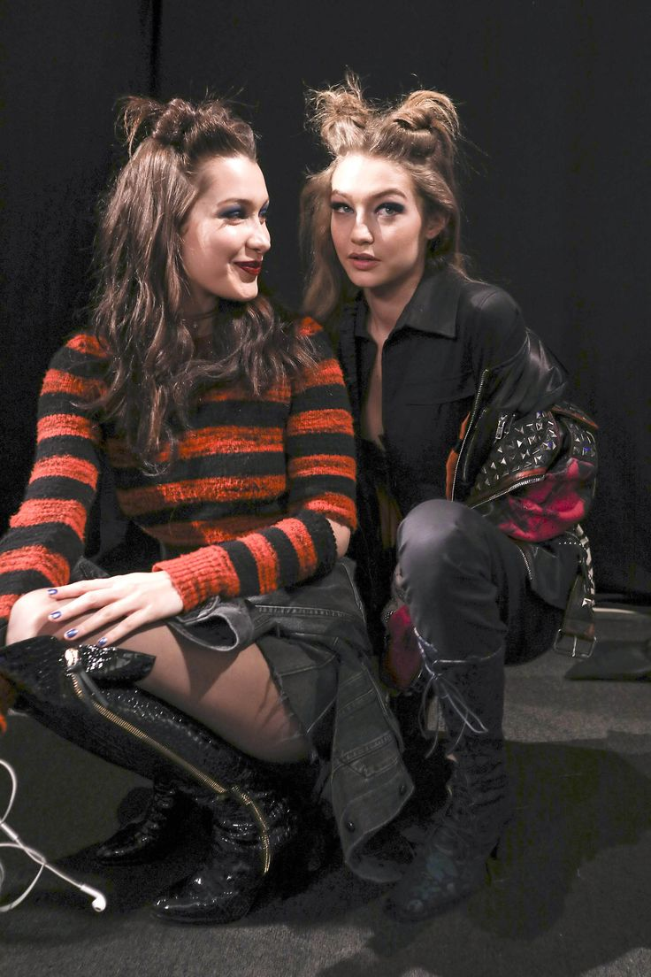 gigihadidaily:  Gigi and Bella Hadid backstage at the Anna Sui Fashion Show during New York Fashion Week