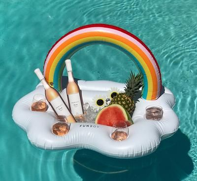 Stay cool while lounging around the pool with FUNBOY's floating bar. Made of extra-thick PVC vinyl, the long cloud features a double-reinforced drink cooler with four cup holders, framed by a cheerful rainbow. Use it in the pool to keep drinks … Inflatable Cooler, Rainbow Drinks, Tropical, Rainbow Cloud, Pool Toys, Enjoy Summer, Summer Pics, Pvc Vinyl, Summer Bucket Lists