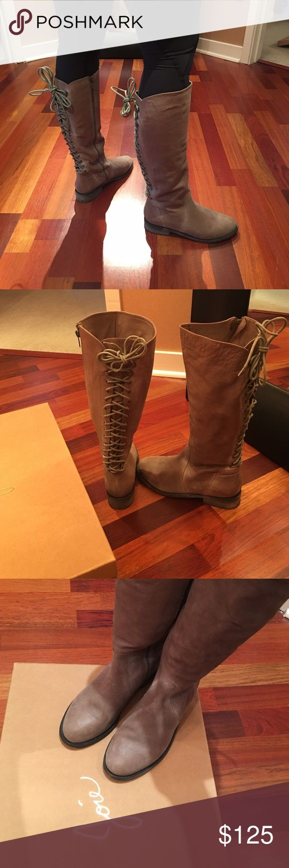 """Joie """"Slow Ride"""" Tall Lace Up Boot Gently worn """"Slow Ride"""" tall lace up boot from Joie in beige with a slight distressed look, side zipper for easy on/off.  Comes with box. Joie Shoes Lace Up Boots"""