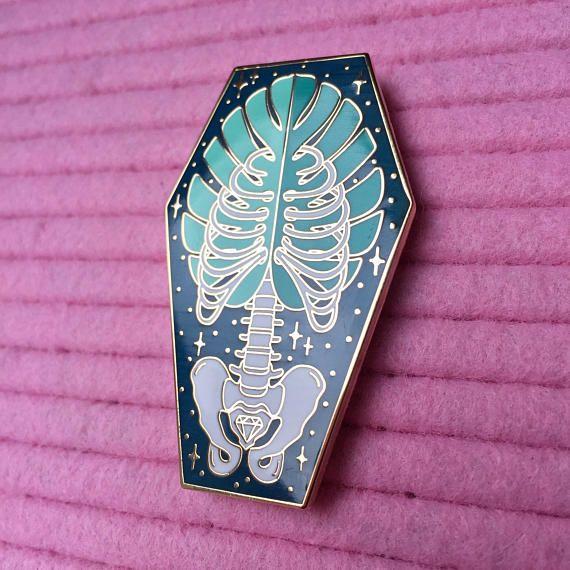 Monstera Bones Coffin enamel pin