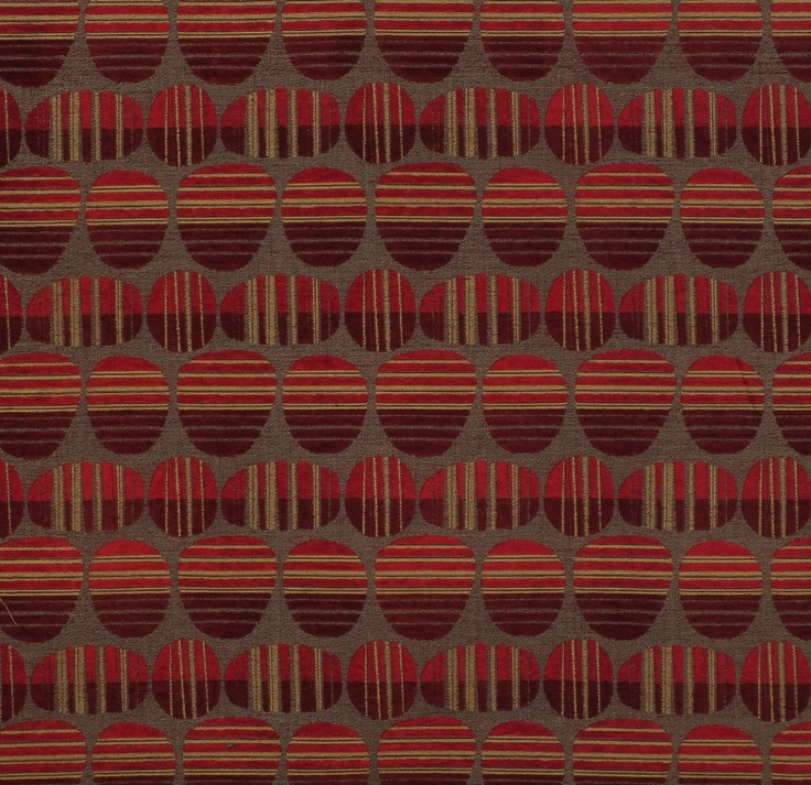 Red geometric upholstery fabric - Moods Cherry by Charles Parsons Interiors #fabric #upholstery #red #geometric #circles #charlesparsonsinteriors