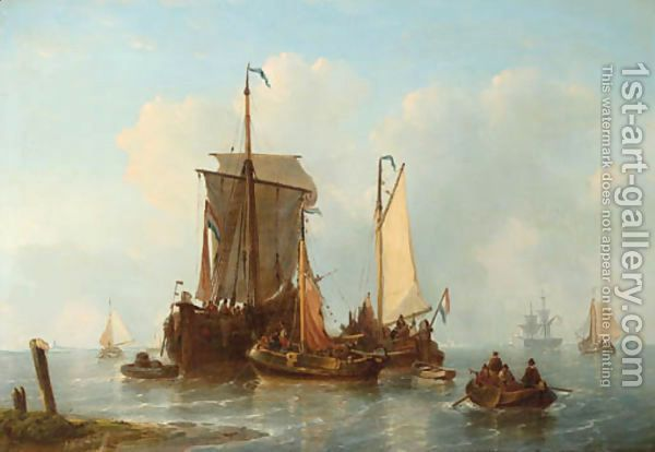 A vis hoeker and other Dutch fishing ships riding at anchor by George Willem Opdenhoff