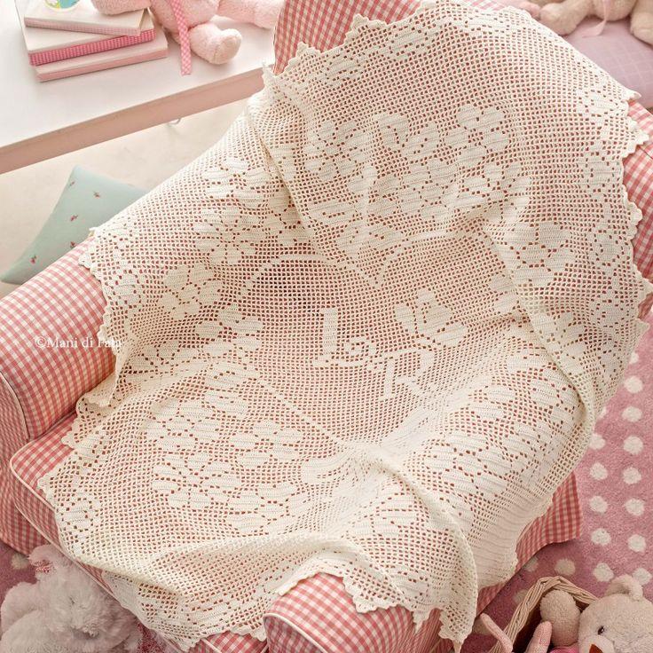 Schema e lana per fare copertina ad uncinetto filet