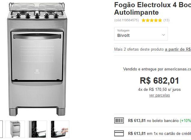Fogão Electrolux 4 Bocas 50SX Inox Super Forno Autolimpante << R$ 61381 >>