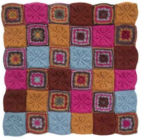 Yarn Companies Free Knitting Patterns : Free Knitting Pattern L50223 Leaf Squares Afghan : Lion Brand Yarn Company ...